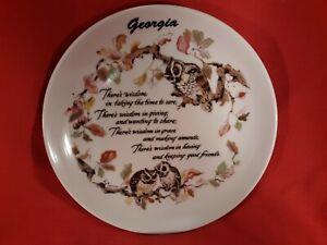 Vintage GEORGIA FRIENDSHIP Souvenir Collectable Plate OWL WISDOM made in Korea