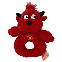 Vintage Manchester United Fred The Red Mascot Plush Rattle Baby Soft Toy Retro