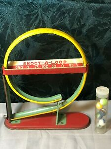 Antique Shoot-A-Loop Tin Marble Game - Wolverine Mfg. Pittsburgh, PA w/Marbles