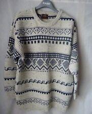 Winter Pullover M 36 38 Wolle strickpullover Norweger Baumwolle weiß blau warm