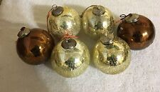 Kugel Style Gold and Amber Crackle Glass Ornaents