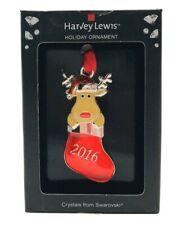 Harvey Lewis Mini 2016 Reindeer in Stocking Christmas Ornament Swarovski Crystal