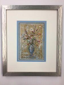 Edna Hibel vase of flowers custom framed