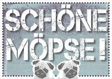 """A6 Postkarte Spruchkarte lustige Sprüche Karte Mops Hund Spruch """"Schöne Möpse!"""""""