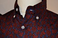 Mod / 1960s style paisley shirt - red and blue - by Pop Boutique BNWT