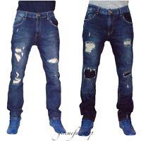King Denim G Mens ripped jeans, slim fit, skinny straight rips, star denim