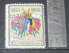 DELANDRE CINDERELLA 1915 TIMBRE VIGNETTE GUERRE 14-18 ARMEES ALLIEES PATRIOTIQUE