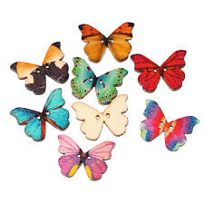 New 50pcs Mixed 2 Hole Wood Natural Butterfly Sewing Scrapbooking Craft Buttons