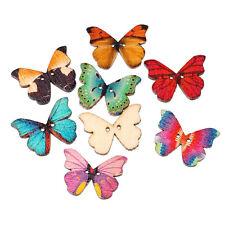 Nuevo 50pcs Mixto 2 Agujero De Madera Natural Mariposa Coser Scrapbooking Craft Botones
