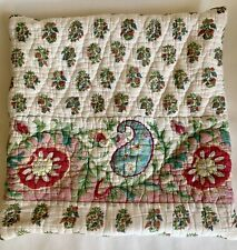Vintage? Quilted Puffy Pillow Sham Shabby Chic 15X 15 Custom Blue Pink Green