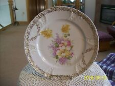 C.T.  Bavaria Germany Vintage Porcelain Plate Raised Scroll & Floral Pattern