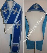 Orthodox Bishop Vestment Omophors German Blue Velvet set of two Silver crosses