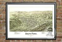 Old Map of South Fork, PA from 1900 - Vintage Pennsylvania Art, Historic Decor