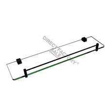 500mm Single Towel Glass Shelf Rack Rail Stainless Steel Holder Black Wall Mount
