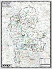 STAFFORDSHIRE COUNTY WALL MAP. LAMINATED EDITION - Map Scale 1:100,000