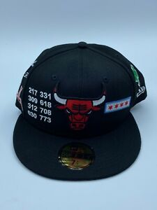 New Era NBA Chicago Bulls 5950 Black Fitted Hat Official Game Classic Cap