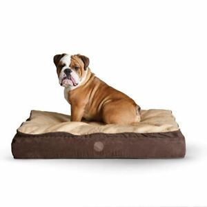 """K&H Pet Products Feather Top Ortho Pet Bed Medium Chocolate / Tan 30"""" x 40"""" x 6."""