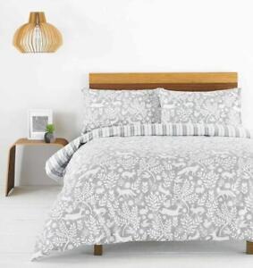 Brushed Cotton Grey Skandi Woodland Flannelette 100% Cotton Duvet Cover Set