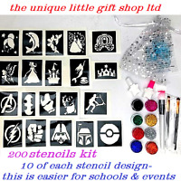 GLITTER TATTOO KIT boys and girls 200 stencils 10 of each 8glitter glue brushes