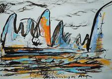 Original Pastel Ink Modern Mountians Orange Blue Landscape Gallery Artist Anya