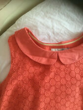 🌺BODEN UK14R CORAL BRODERIA ANGLAISE SUMMER TOP PETER PAN COLLAR sleeveless