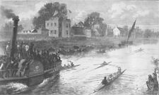 ROWING. Race for Thames championship. finish, antique print, 1874