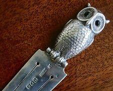 Rare And Charming Edwardian Sampson Mordan & Co Silver Owl Bookmark, London 1903