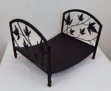 """Decorative Fire Wood Rack Metal 18"""" Leaf Design Brown Fireplace Log Holder"""