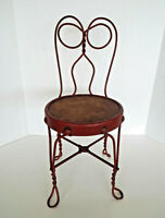 """Vintage Child Doll Size Ice Cream Parlor Chair Red Twisted Wrought Iron 21"""" Tall"""