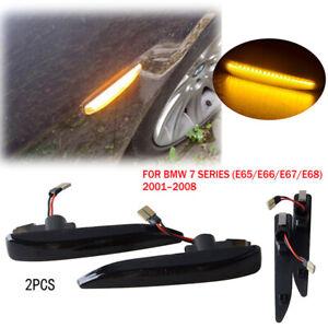 2x Smoked LED Fender Side Marker Turn Signal Light For BMW 7-Series E65 E66 E67