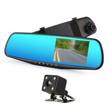 """Twin DVR Car Camera & Rear View Mirror 4.3"""" Monitor with Reverse Parking Cam"""