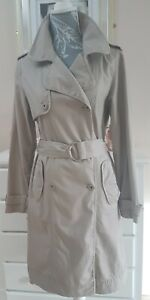 Trench Coat Size 12 Stone Beige Somewhere Euro 40 belted linen mix military