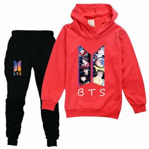 Boy Girls BTS Kids Long Sleeve Hoodie Pants Suit Tracksuit Sportswear Set