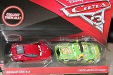 "DISNEY PIXAR CARS 3 ""2 PACK NATALIE CERTAIN & CHICK HICKS W/ HEADSET"" SHIP WW"