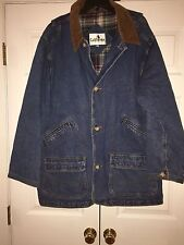 WOW Men's California Denim Barn Coat Large L Flannel Plaid Lined Really Nice