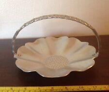 "Vintage Hammered Aluminum Handled Basket Tray 6.5"" Flower Shaped With Handle"