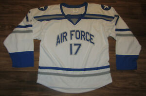 U.S. Air Force Falcons Mens Hockey Jersey, #17, Polyester, White, Size L, EUC