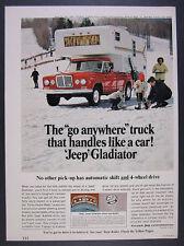 1966 Jeep Gladiator Pickup red truck camper ski hill photo vintage print Ad