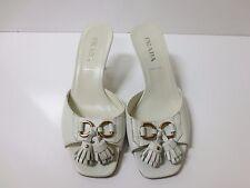 PRADA White Leather Fringe Tassel Slide Sandals Shoes 35.5 GREAT DEAL