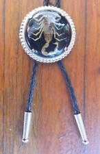SCORPION BLACK AND SILVER RODEO ANIMAL ROUND COWBOY BOLOTIE WESTERN BOLO TIE