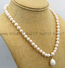 AA New 7-8mm White Akoya Cultured Pearl & Shell Pearl Pendant Necklace 18""
