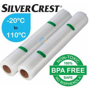 Genuine Silvercrest 28cm Twin Pack Vacuum Sealer Bags Food Airtight Watertight
