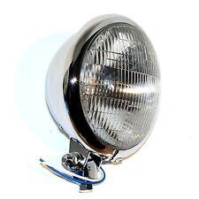 "CHROME 6-VOLT 5-3/4"" HEAD LIGHT  BLUE INDICATOR HARLEY TRI XS650 BOBBER CHOPPER"