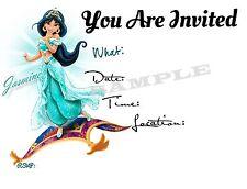 Princess Jasmine Party Invitations with matching envelopes, princess, 12pack