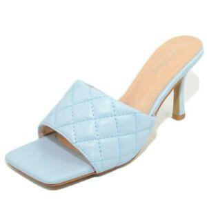 Sandalo donna azzurro polvere tallone scoperto a sabato tacco a spillo 10 fascia