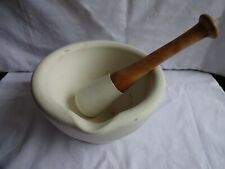 More details for early alabaster acid proof apothecary pestle and mortar wooden handle 10 x 18 cm