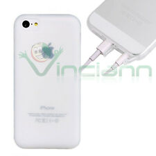 Pellicola+Custodia JELLY CRYSTAL per iPhone 5C cover BIANCO+tappini anti-polvere