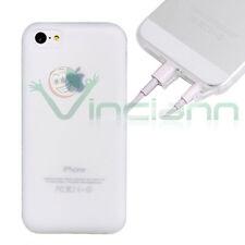 Pellicola+Custodia JELLY CRYSTAL per iPhone 5C cover BIANCO+tappini anti-polvere