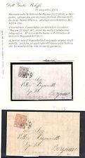 1857-59 PARMA 25 Cent Bruno lila n ° 11a en envolvente 29/07/1858