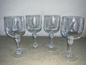 "Princess House Crystal Bordeaux Stem 6"" Wine Glasses Etched Flower Set of 4 EUC"